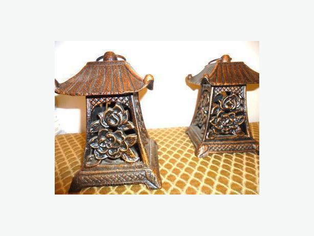 Pair of Japanese Cast Iron Lanterns & Urns