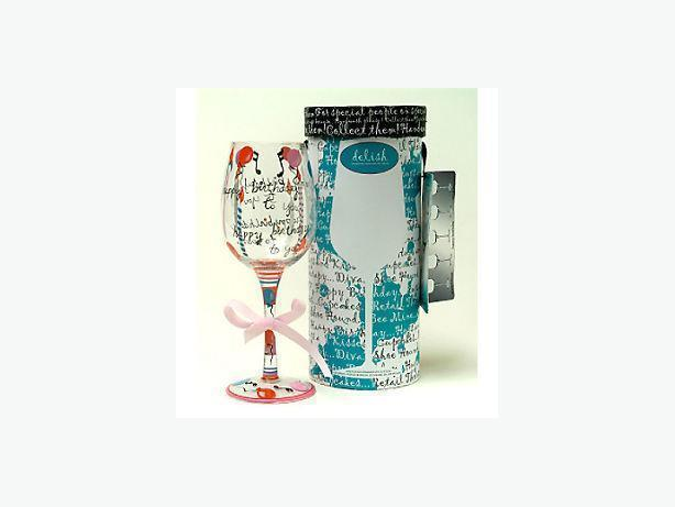 Happy Birthday Wine Glass by DELISH Handpainted Stemware