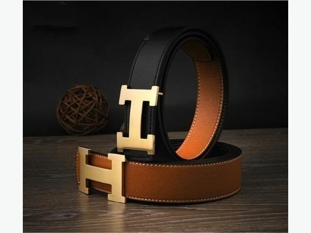 New 2 in 1 Hermes Reversible Buckle Double Sided Leather Belt Unisex (BROWN)