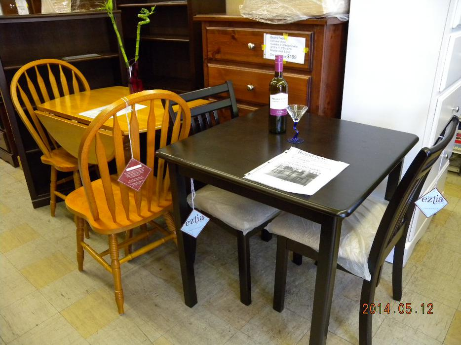 Brand new solid wood espresso square table loi 39 s used for Consignment furniture clearwater