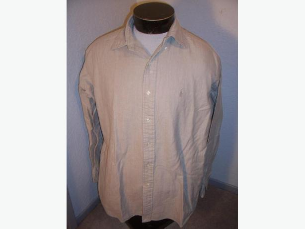 Men's Excellent Condition RALPH LAUREN medium M Button-up shirt Beige