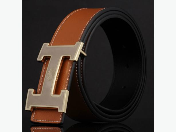 New Hermes Logo 2 in 1 Brown Reversible Leather Belt Unisex