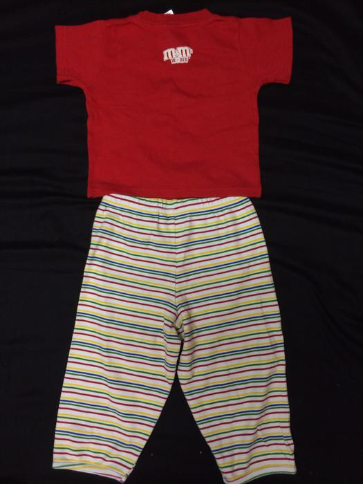 M shirt and striped pant set w embroidered logo