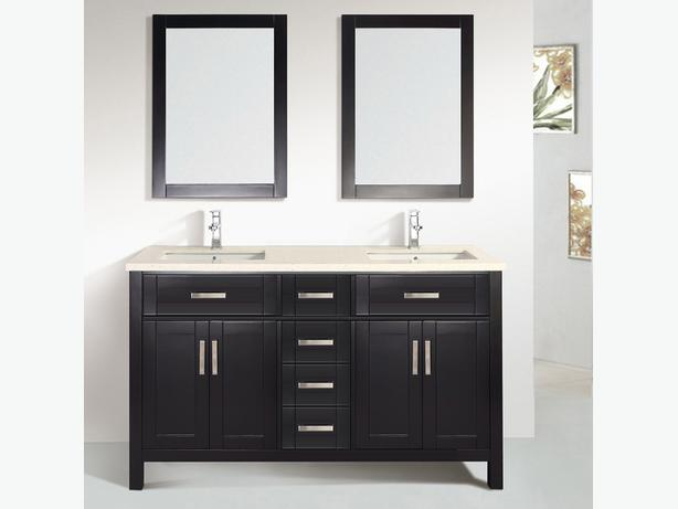 60 Solid Wood Bathroom Double Sinks Vanity With Mirror And Faucet Vanco