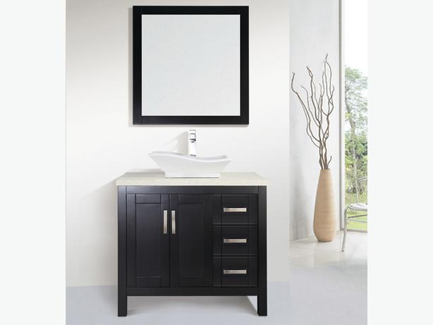 36 Solid Wood Bathroom Vessel Sink Vanity With Mirror And Faucet Vancouver City Vancouver