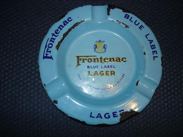 Cool Vintage Enamel Ashtray Frontenac Blue Label Lager