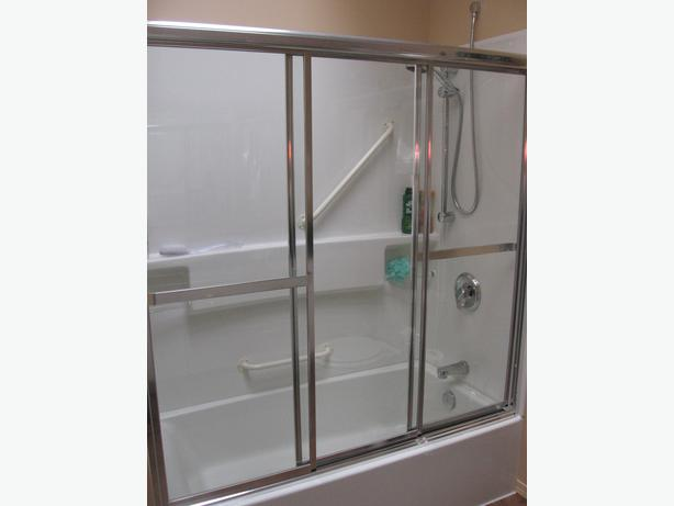 maax chrome 3 panel tub shower doors with clear glass