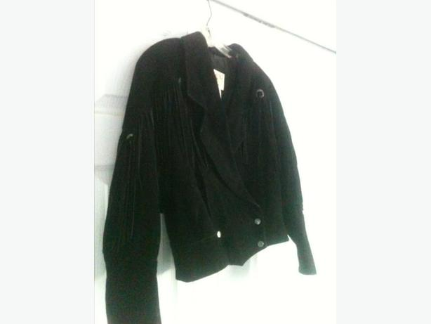Suede Leather Jacket with Tassels, Size M