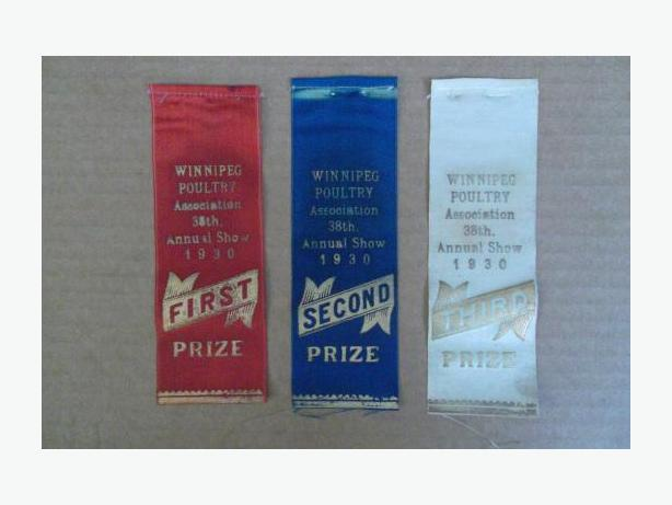 1930 Winnipeg Poultry Association 38th Annual Show ribbons