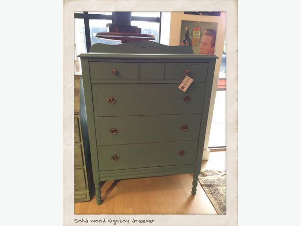 Vintage Solid Wood Highboy Dresser Delta Incl Ladner