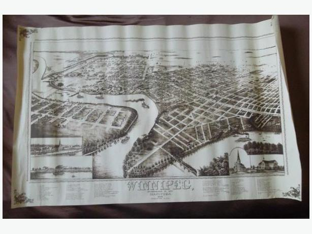 Bird's Eye View Map of Winnipeg in 1881