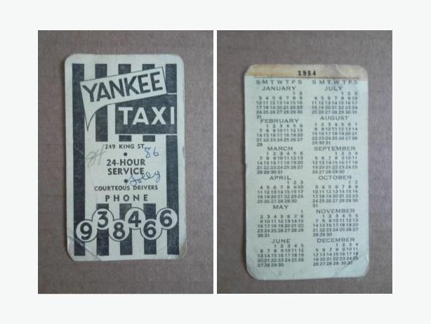 1954 Yankee Taxi (Winnipeg, Manitoba) business card with calendar