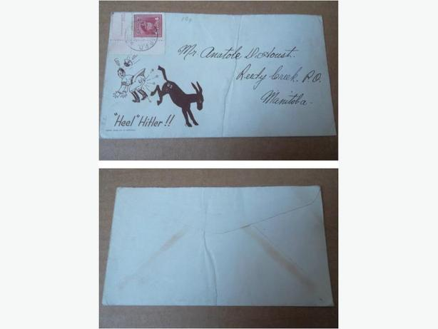 "World War II Patriotic Envelope ""Heel Hitler"""