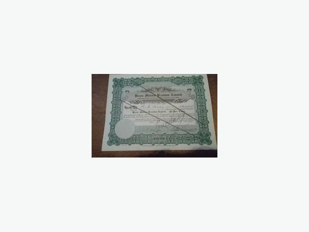 1945 Breen Motors (Brandon, Manitoba) Stock Certificate