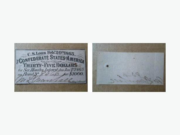 1863 & 1864 Confederate Civil War Bond Interest Receipts