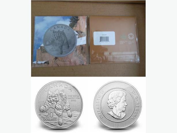 2014 Canada $20 Fine Silver Coin (Bobcat)