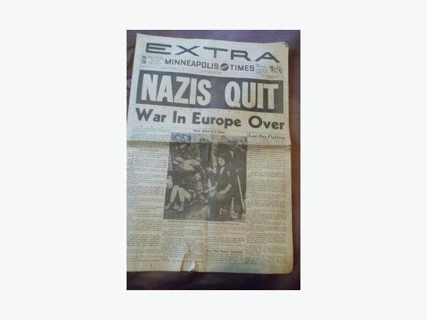 1945 Minneapolis Daily Times - end of World War II newspaper
