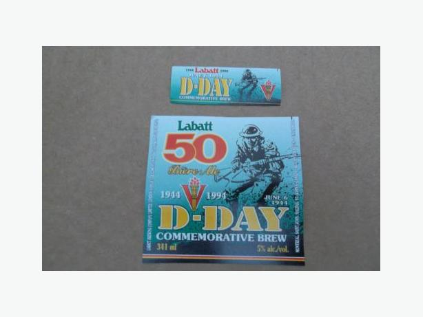 Labatt (D-Day 50th Anniversary Commemorative Brew) beer bottle label