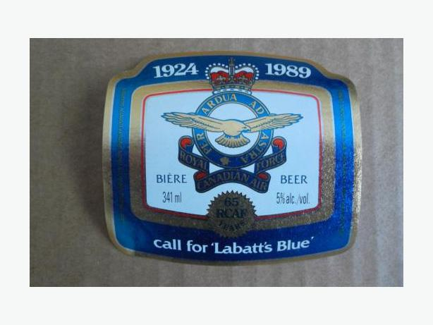 Labatt Brewing Company (RCAF-65 Years) beer bottle label
