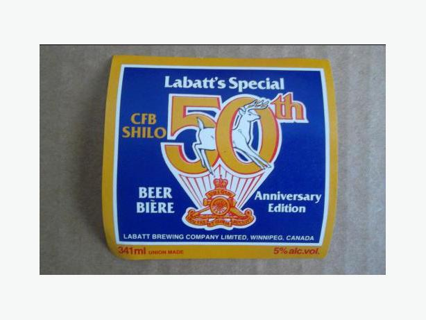Labatt Brewing Company (CFB Shilo-50th Anniversary) beer bottle label