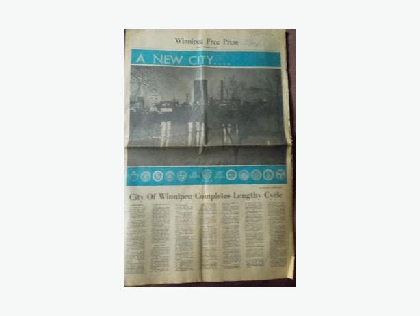 1971 Winnipeg Free Press - Amalgamation of The City of Winnipeg