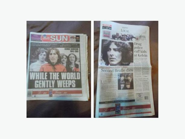 2001 Newspapers - Death of George Harrison