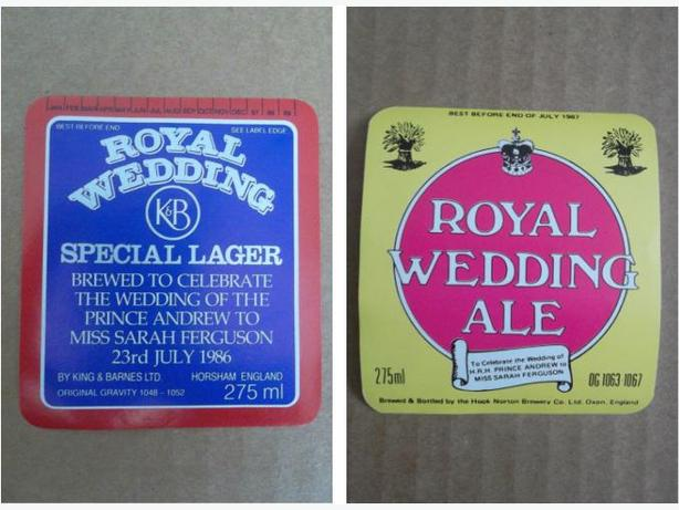 1986 beer bottle labels for Royal Wedding of Prince Andrew and Sarah Ferguson
