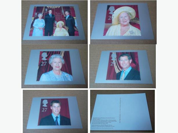 Set of five postcards commemorating the 100th year of The Queen Mother