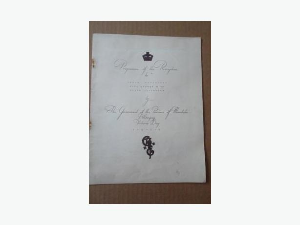 1939 Reception Programme for King George VI