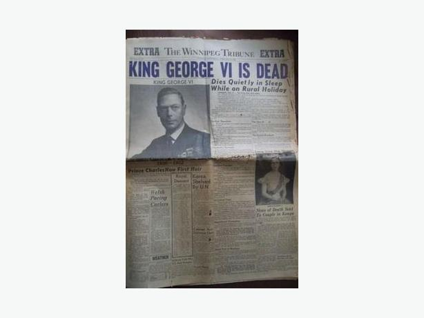 "1952 ""King George VI is Dead"" Newspaper"