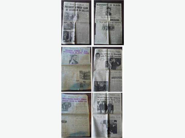 1963 Newspapers about the Kennedy Assassination