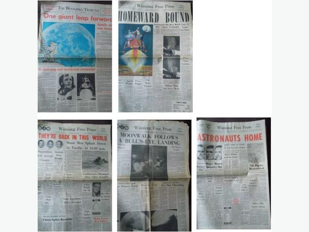 Historical Moon Landing Newspapers