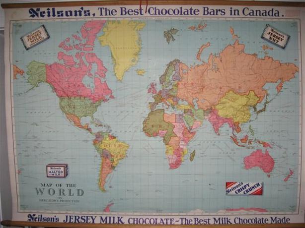 Vintage 1930 1950 39 s Neilson 39 s Chocolate School World Map 54 x