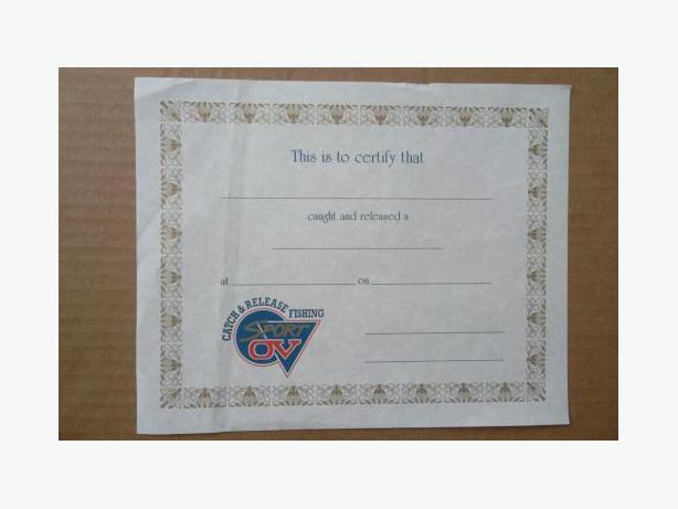 Sport OV Catch & Release Fishing certificate