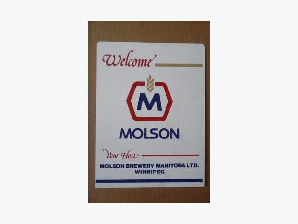 Molson Brewery Manitoba plastic sign (1960's-70's)