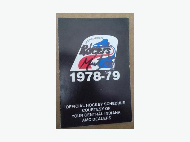 1978/79 Indianapolis Racers (WHA) pocket schedule (signed by Wayne Gretzky?)-