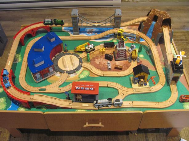 Imaginarium mountain rock train table west shore langford for 100 piece mountain train set and wooden activity table