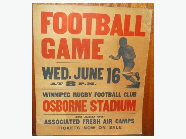 1937 Winnipeg Rugby Football Club (Blue Bombers) streetcar poster