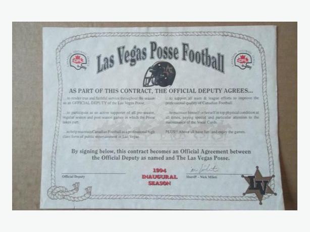 "1994 Las Vegas Posse (CFL) Inaugural Season ""Official Deputy"" certificate"