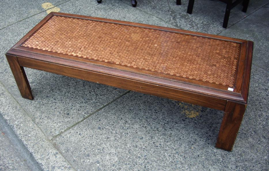 Amazing copper penny in resin top large coffee table for Coffee tables kelowna