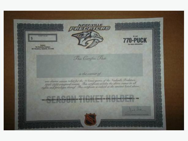 Nashville Predators Inaugural Season Ticket Holder certificate