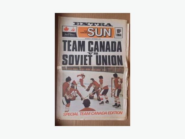 1972 Team Canada vs Soviet Union special edition newspaper
