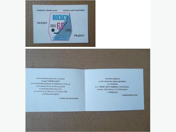 1996 Miercurea Ciuc (Romania) hockey team 65th Anniversary invitation card