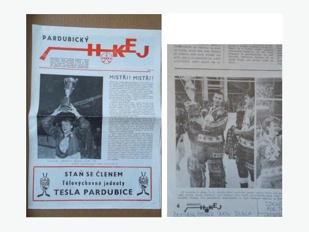 1989 HC Tesla Pardubice (Czechoslovakia) hockey newspaper (with Dominik Hasek)