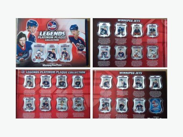 2007 Winnipeg Free Press Winnipeg Jets Legends Plantinum Plaque set with album