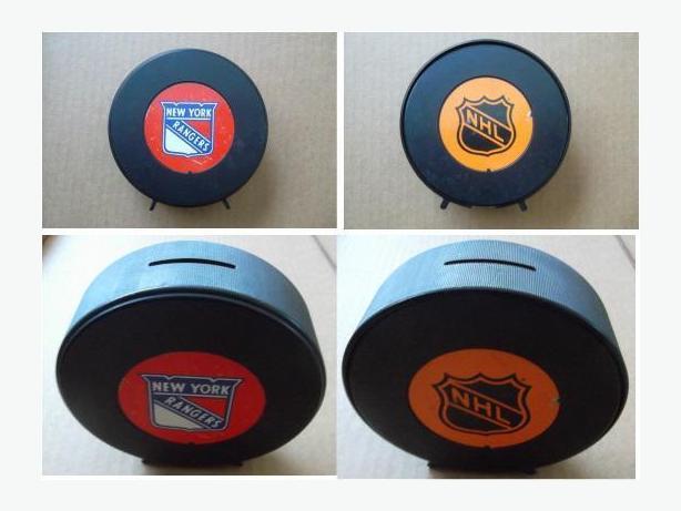 Plastic New York Rangers hockey puck bank