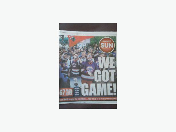 2011 RETURN OF THE NHL TO WINNIPEG NEWSPAPER