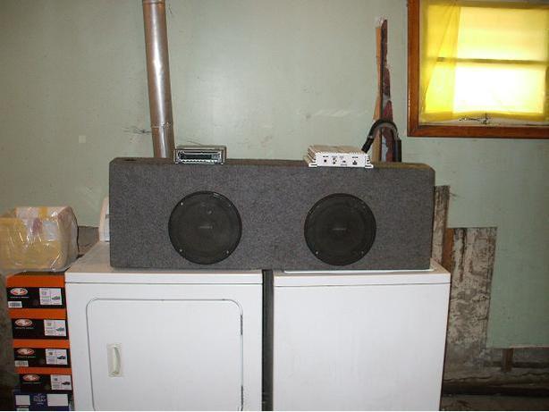 Sub box,amp and deck.