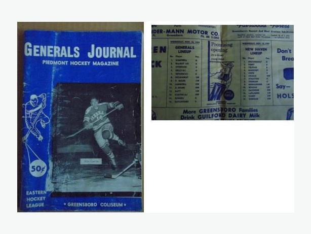 1959/60 Greensboro Generals hockey program