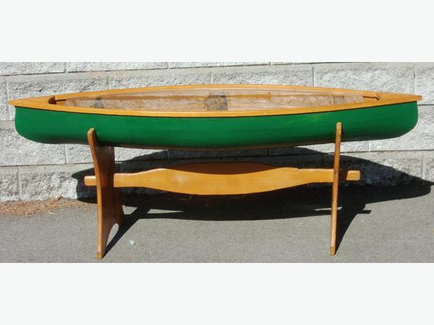 cedar strip canoe coffee table - great for fishing gear display